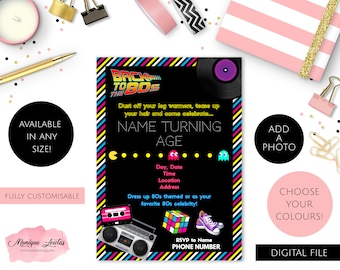 Digital Download Personalised 80's Themed Birthday, Wedding, Engagement, Throwback Party Invitation - Back To The 80s - Pink, Yellow, Blue