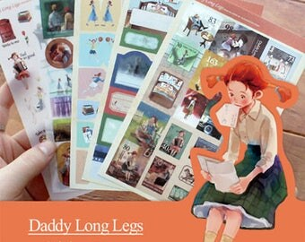 """Stickers 5 sheets set """"Daddy long legs"""""""
