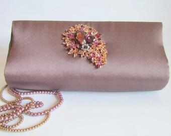 Elegant Brown Bronze Rhinestone Handbag, Brown Evening Clutch, Boutique Statement Purse, Evening Wear, Elegant Formal Purse, Bronze Clutch