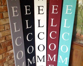 WELCOME SIGN, WOOD, Black and white, Grey, Wood welcome sign, front door welcome sign, gifts for her, home decor, porch sign, vertical