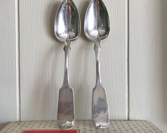 Set of 2 Vintage Rustic Antique Coin Silver Serving Spoons - Food Photography Prop - Antiques - Photo Prop - Lewis Nowlin Chicago