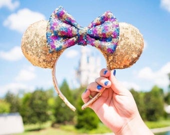 Gold Mouse Ears with Rainbow Bow