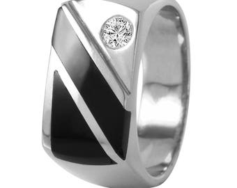 14KT White Gold 0.20ctw Diamond and Onyx Ring, 13.04gm. Size: 10 -6672