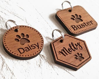 Pet Tags Dog ID Tag - Custom Engraved Personalised Pet Tag Cat ID Tag - Gift For Animal Lovers - Walnut Wood Pet Tags - Gifts For Pet Owners