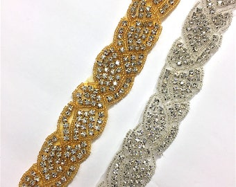 "1""  Crystal Beaded Rhinestone Trim Gold-Silver #GY6034"