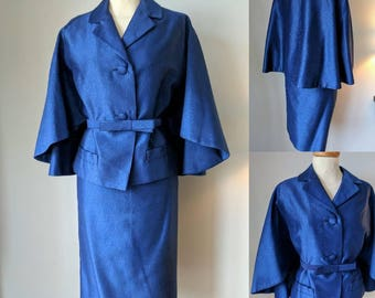 Late 1950s Hershelle Midnight Blue Two Piece Skirt Suit