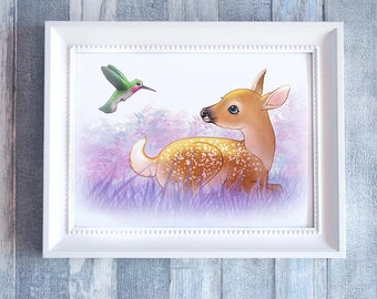 Wall Art, The fawn and the Hummingbird, Print Illustration