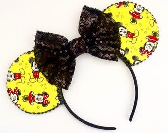The Forever Mouse (Yellow) -  Handmade Mickey & Minnie Mouse Inspired Mouse Ears Headband