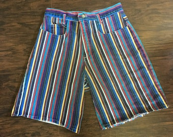 Vintage 90s High Waisted Striped Shorts mom jeans Size Medium