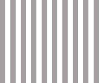 "Gray and White Stripe Fabric - Riley Blake Designs 1/2"" Stripe -  Grey and White Stripe - Narrow Stripe Fabric"