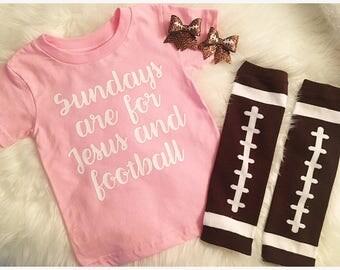 Football and Jesus T Shirt, Sunday Football T Shirt, Toddler Football Shirt, Girl Football Shirt, Jesus and Football Shirt