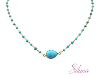 Turquoise necklace and vermeil (sterling silver 925 gold plated), shokermade gemstones Rosary chain
