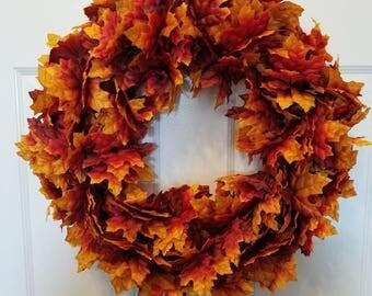 Fall wreath / autumn wreath/ leaves/ housewarming wreath/front door wreath/door wreath
