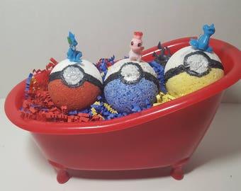 Kids Surprise Pokemon Bath Bombs-Natural Organic Handmade Kids Bath Bomb, Pokemon Bath Fizz, Mystery Bath Bomb, Pokemon Bath Bomb in Bathtub