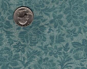 "Quilters 1/4 (9""x22"") Bonnie Benn Stratton Blue and Ecru Flowers Tonal Print  Peace & Plenty Hi-Fashion Fabrics OOP"
