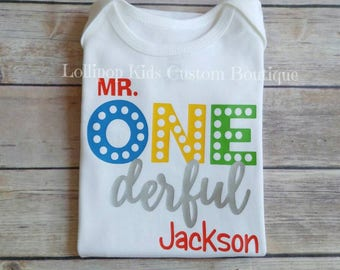 Mr. Onederful Birthday white short sleeve Shirt