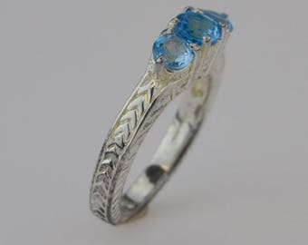 Sterling Silver 925 Estate Carved Tri/three Aquamarine Gemstones Ring Size 10(01566)