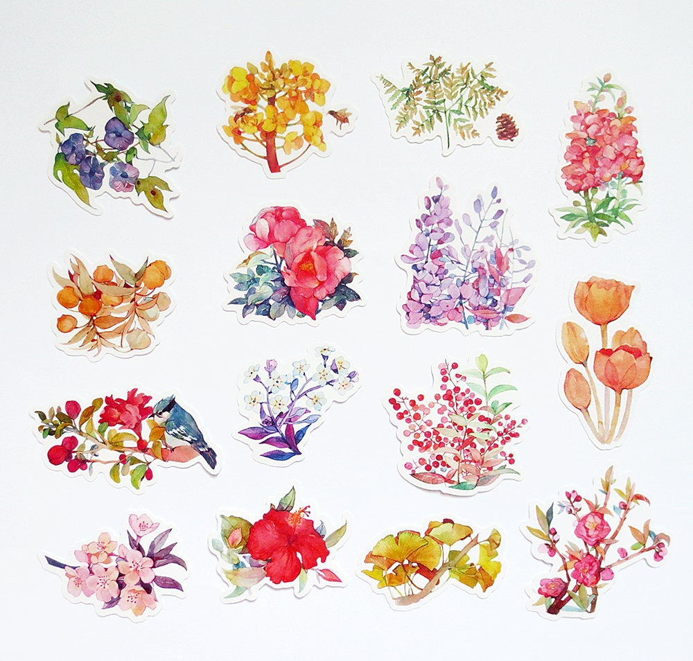 Floral Stickers Pack FREE SHIPPING Flowers Sticker Sack