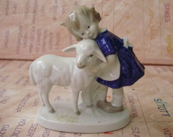 Vintage  porcelain stauette,figurine,little girl with lamb,handpainted,signed