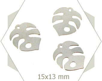 8 silver jungle BA133 philodendron leaf charms