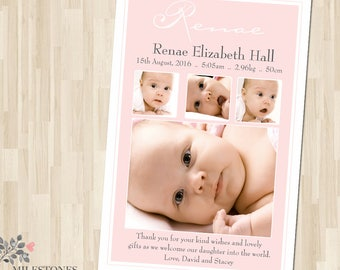 Photo Birth Announcement | Baby Birth Announcement | Baby Thank you Card | Girl Birth Announcement | Customised for you to print