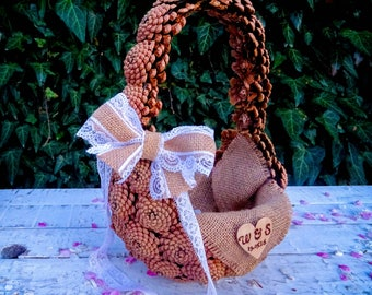 Rustic Handmade Pine Cones Flower Girl Basket Burlap Lace Bow Personalized Heart Wooden Decorative Natural Garden Outdoor Woodland Wedding