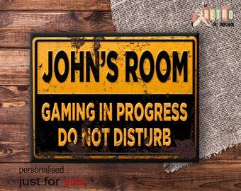 Do Not Disturb, Teenagers, Custom Sign, Gaming Wall Sign, Retro Metal Plaque,  Bedroom Door Plaque , Home Decor, funny wall sign