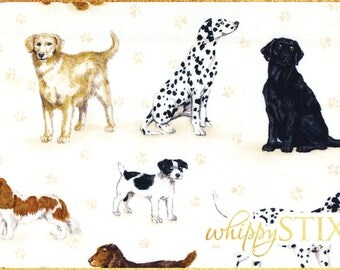 LAST ONE! 1.25 Yards Dog Fabric, Dog Scatter by The Henley Studio for Makower UK 771, Rare Cream Various Dog Breeds Cotton Quilting Material