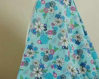 Fabric cotton blue flower 150 cmx50cm