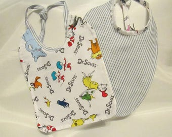 Dr. Seuss! Red Fish, Blue Fish, Green Fish! Sam I Am! Thing One, Thing Two! Baby Bib. 100% Cotton. Handmade.