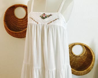 Vintage Indian Cotton Prairie Sundress - Indian Cotton - White Dress - Wedding Dress - Summer Cotton Dress