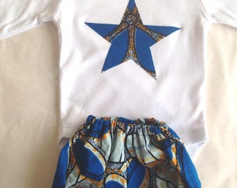 Wax unisex blue bloomer and Bodysuit set