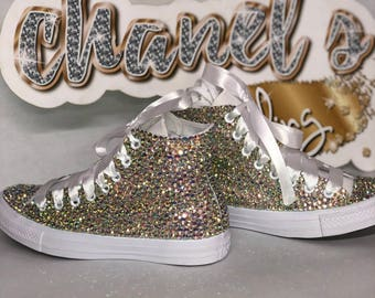 WOMEN'S Diamond Glam Bedazzle Bling Converse All Star Chuck Taylor Sneakers High-Top