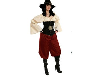 P55 Cranberry (Ready) Renaissance Pirate Pants Medieval Clothing Dress-up Peasant Wench Gypsy Costume Tribal ATS Belly Dance Harem Pants
