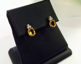 Golden citrines,diamonds,10k gold studs earrings