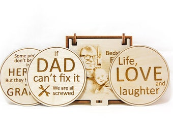 Personalized wooden coasters Laser engraved Gift for him Birthday gift Rustic coasters