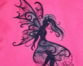 Embroidered sweatshirt, fairy, pink, 164