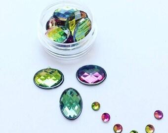 Rainbow Oval Face Gems