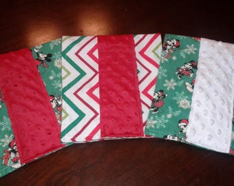 Set of 3 Baby Boy or Girl Flannel & Minky Christmas Burp Cloths with Disneys Mickey and Minnie Mouse, Chevron Print in Red, Green and White