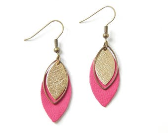Pia pink and gold earrings