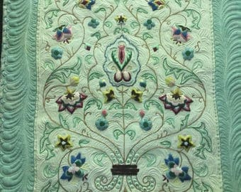 Quilted Vintage Embroidery Wall Hanging