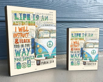 Vintage Bible verse Page- Life is An Adventure- Psalm 32:8- ART PRINT on Wooden Block, Volkswagen Vw Bus Van dictionary christian gift