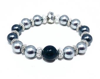 Gunmetal Glitter~ Handmade Stretch Bracelet~ Freshwater Pearls & Sapphire Glitter Jasper~ Czech Glass Crystal Rondelle~ Adjustable