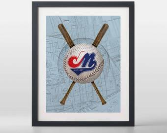 Montréal Expos-inspired Baseball Art Print