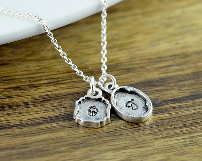 Personalized Cupcake Necklace - Hand stamped Monogram Cupcake Necklace - Initial Necklace - Little Girl Necklace -