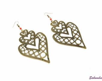 Earrings, large, bronze, filigree, pearls, crystal, red, heart