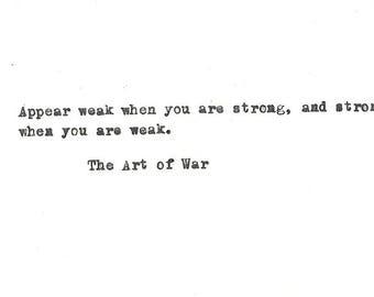 The Art of War Sun Tzu Hand typed Vintage Typewriter quote