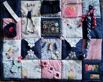Denim Delight Fidget Blanket with cute wildlife