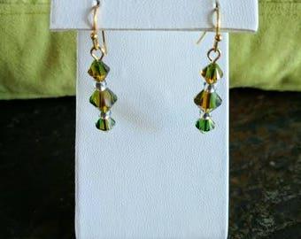 Swarovski crystal green dangle earrings