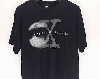 Free Shipping Rare 90s Vintage The X Files TV Series Horror Psycho Thriller Alien ET T Shirt